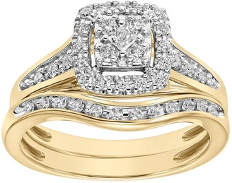 Lovemark 10k Gold 1/3 Carat T.W. Diamond Halo Engagement Ring Set