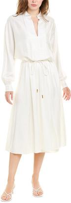 Tory Burch Drawstring Silk-Blend Maxi Dress