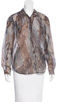 L'Agence Snakeskin Print Long Sleeve Top