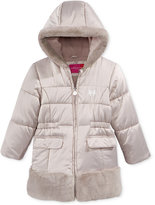 London Fog Satin & Faux-Fur Hooded Puffer Jacket, Little Girls (2-6X)