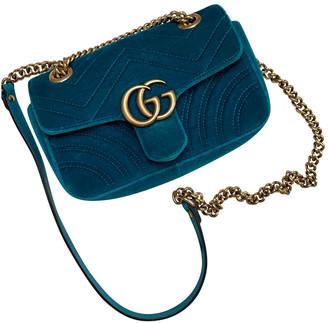 Gucci Marmont Turquoise Velvet Handbags