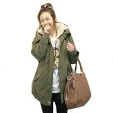Win8Fong Women's Thicken Trench Fleece Zip Hooded Parka Warm Winter Dovetail Coat (, M)