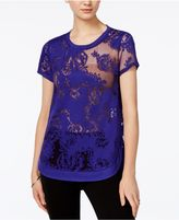Bar III Burnout Lace T-Shirt, Created for Macy's