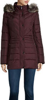 Liz Claiborne Side Panel Puffer Jacket with Faux Fur Hood