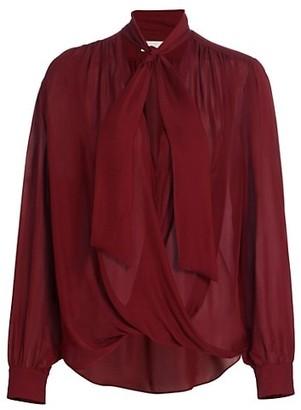 7 For All Mankind Necktie Silk-Blend Blouse