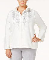 Alfred Dunner Plus Size Northern Lights Collection Embroidered Mock-Neck Top
