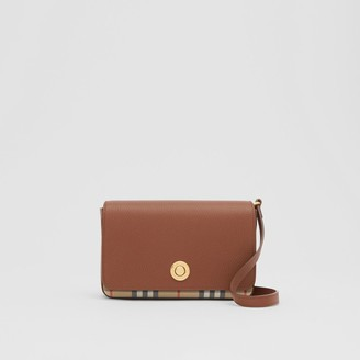 Burberry Small Leather and Vintage Check Crossbody Bag