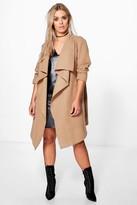 boohoo Plus Jourdan Wool Look Wrap Front Coat