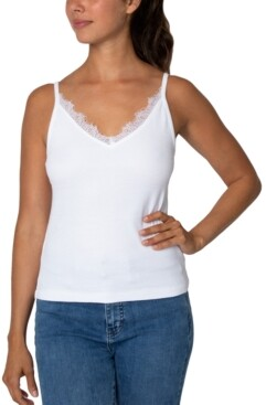 Rebellious One Juniors' V-Neck Lace-Trim Tank Top