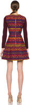 Matthew Williamson Digital Tapestry Weave Cotton-Blend Dress in Plum