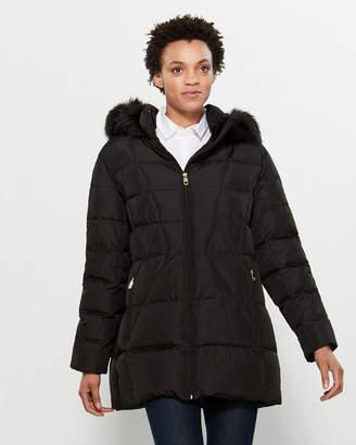 Calvin Klein Faux Fur-Trimmed Down Long Coat