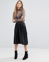 Vero Moda Coated Pleated Midi Skirt