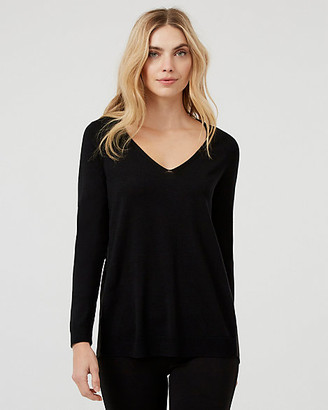 Le Château Knit V-Neck High-Low Sweater