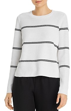 Eileen Fisher Striped Crewneck Boxy Sweater
