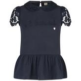 Armani Junior Armani JuniorGirls Navy Cotton & Lace Trim Top