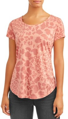 Sofia Jeans By Sofia Vergara Sofia Jeans Scoop Neck Embroidered Tee Women's (Animal Print)