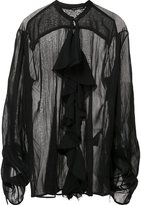 Isabel Benenato sheer ruffle blouse - women - Cotton/Silk - 42