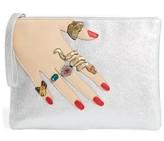 Sam Edelman Jeana Hand Zip Metallic Faux Leather Pouch - Metallic