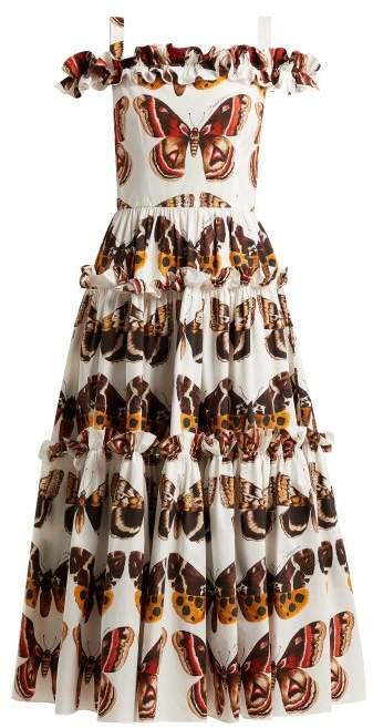 Dolce & Gabbana Butterfly Print Cotton Poplin Dress - Womens - Brown White