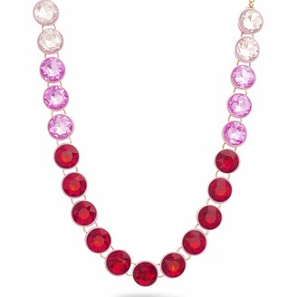 "Steve Madden Women's 13"" Red and Pink Round Rhinestone Yellow Gold-Tone Link Collar Necklace"