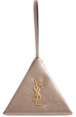 Saint Laurent Pyramid Metallic Leather Minaudiere