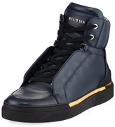 Balmain Atlas Suede High-Top Sneaker, Blue