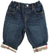 Burberry Stretch Denim Jeans With Check Cuffs