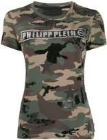 Philipp Plein logo camouflage print T-shirt