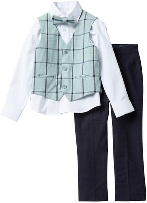 Isaac Mizrahi Plaid 4-Piece Contrast Vest Suit (Toddler & Little Boys)