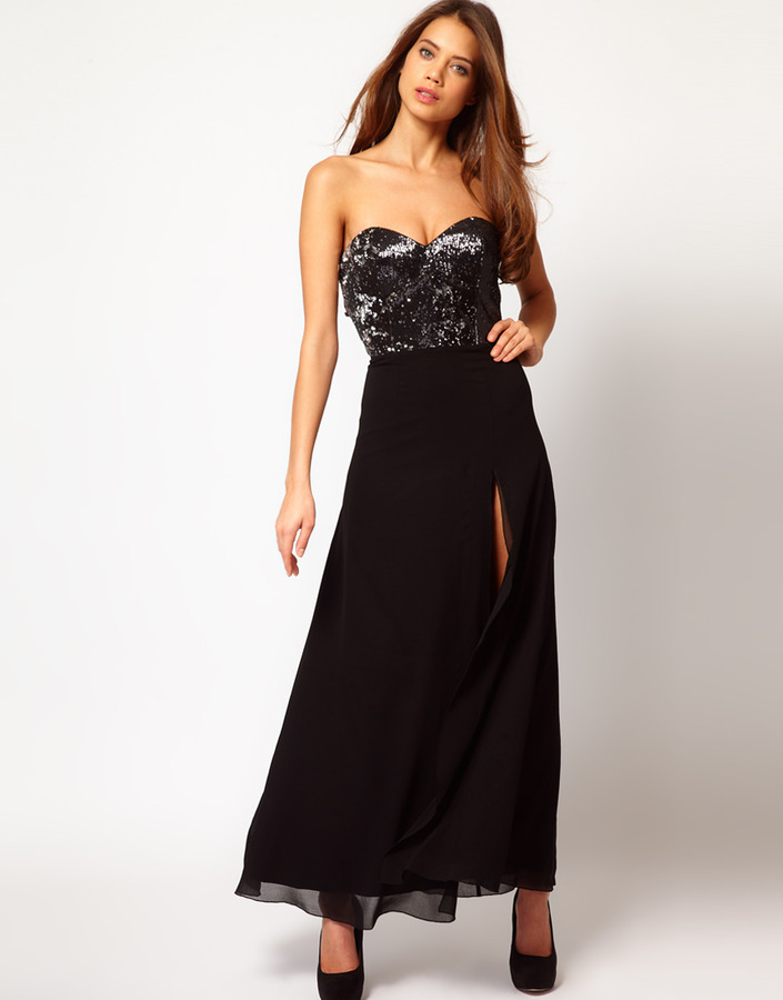 Lipsy Sequin Top Maxi Dress with Thigh High Split