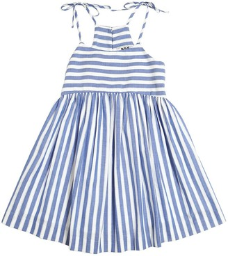 Milly STRIPED COTTON CHAMBRAY DRESS