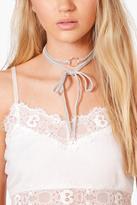 boohoo Orla Velvet Ring Detail Tie Choker grey
