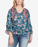 Jessica Simpson Trendy Plus Size Embroidered Top