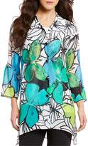 Caroline Rose Butterfly Print Georgette Button Front Tunic Shirt