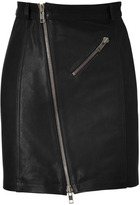 McQ Alexander McQueen Black Zip Leather Pencil Skirt