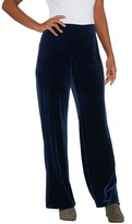 Susan Graver Petite Stretch Velvet Pants with Side Slits