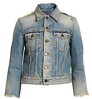 Saint Laurent Women's Distressed Denim Trucker Jacket