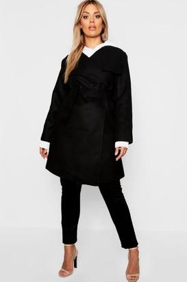 boohoo Plus Wool Look Wrap Front Coat