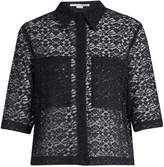 Stella McCartney Short-sleeved cotton-blend lace shirt