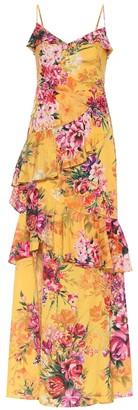 Marchesa Floral crepe de chine gown