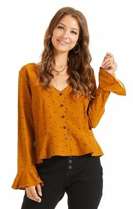 SONJA BETRO Women's Pokdot Print V-Neck Bell Sleeve Peplum Button Down Blouse Top XX-Large Yellow