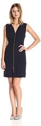 Julia Jordan Women's Sleeveless Front Zipper Body Con Stretch Crepe Sheath Dress