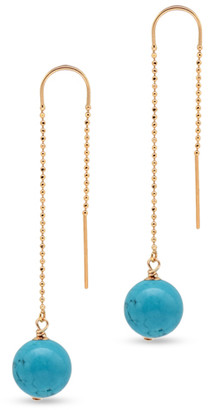 CHAINS AND PEARLS 14k Yellow Gold and Turquoise Dangle Earrings