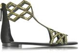 Giuseppe Zanotti Black Suede Flat Sandal w/Crystals