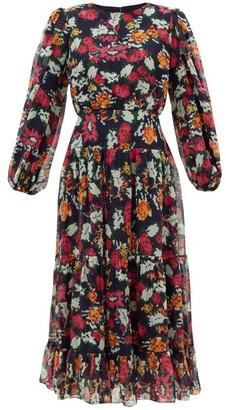 Saloni Isabel Floral-print Silk-chiffon Midi Dress - Womens - Navy Multi