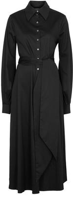 Racil Selman black cut-out stretch-cotton shirt dress
