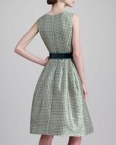Oscar de la Renta Check-Print Jewel-Neck Dress, Ivy