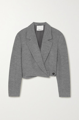 3.1 Phillip Lim Cropped Melange Wool Blazer - Gray