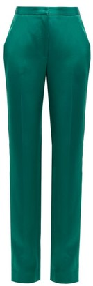 Carolina Herrera High-rise Straight-leg Satin Trousers - Green