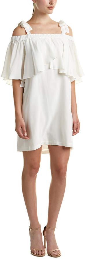 Nicole Miller Cold Shoulder Silk Shift Dress